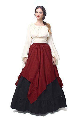 61de67561a2 Amazon.com  Womens Renaissance Medieval Costume Dress Gothic Victorian  Fancy Dresses  Clothing