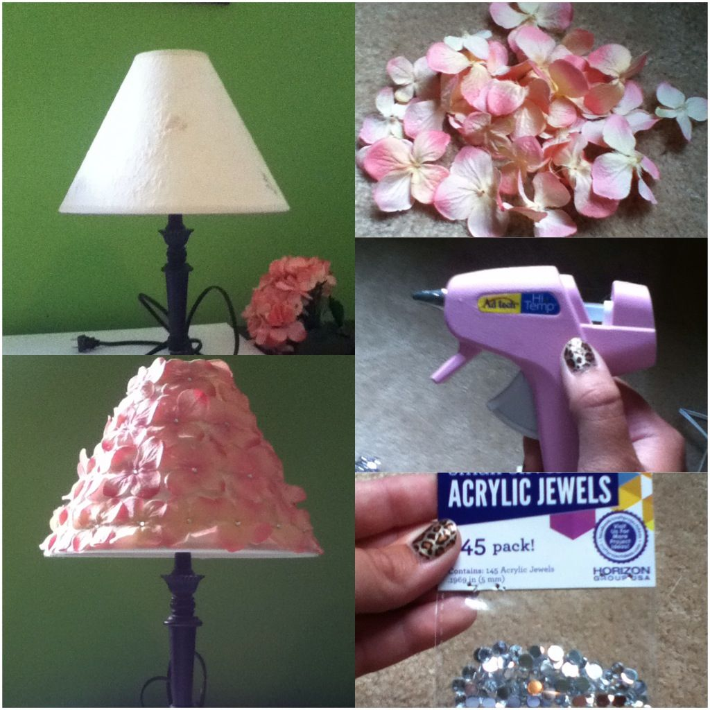 DIY Hydrangea Flower Lamp Shade Items Needed 1) Old Lamp Shade 2) Fake Hydrangea Flowers 3) Small Acrylic Jewels 4) Hot Glue Gun All the above items can be found at Walmart