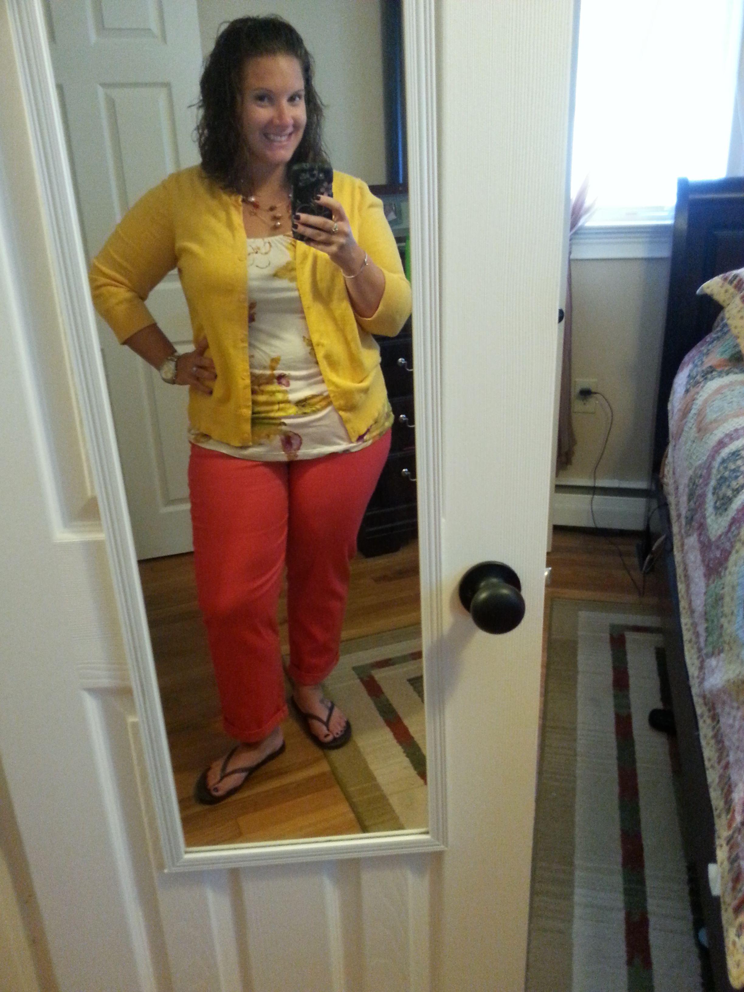 coral short pants, floral shirt, yellow cardigan | Cardigan Queen ...