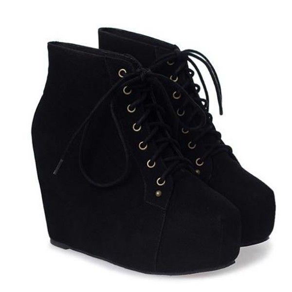 Black Velvet Hidden Platform Wedge Booties @ Boots Shoes:Womens ...