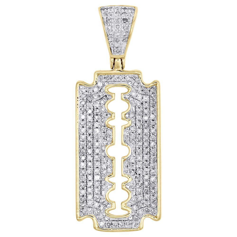 14K Solid Yellow Gold Diamond Cut Razor Blade Necklace Barber Shop Pendant Charm