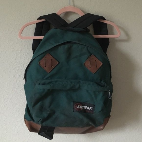 Vintage green and leather eastpak backpack | Vintage, Leather and Bags