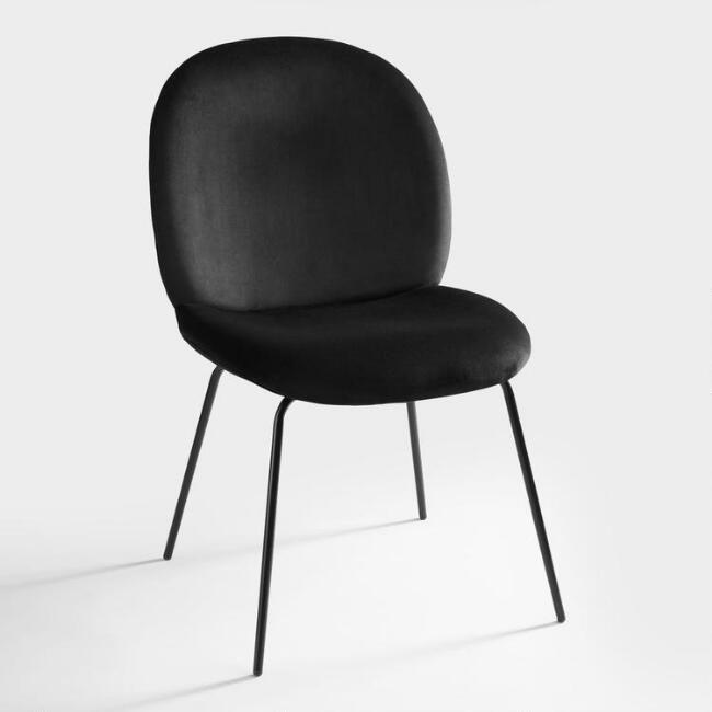 World Market Black Velvet Lexi Molded Dining Chairs Set Of 2 In