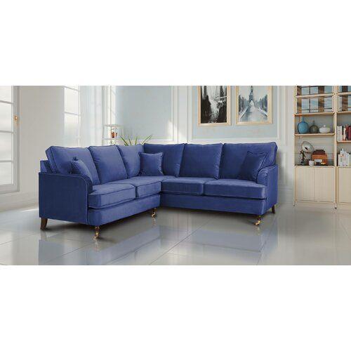 Ezequiel Modular Corner Sofa Everly Quinn Upholstery Colour Marine Blue