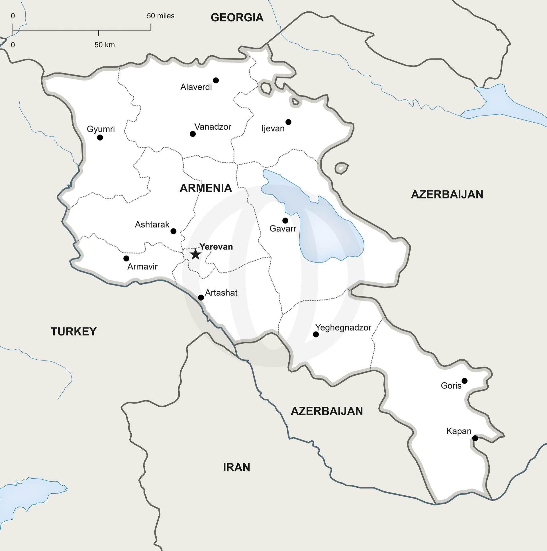 Vector Map Of Armenia Political