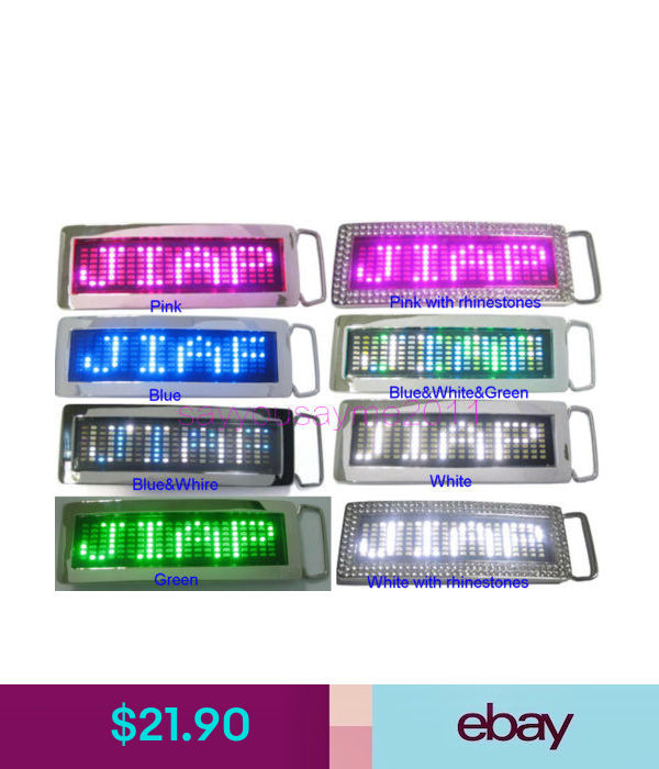 Programmable Scrolling Message Display LED Flash Light Belt Buckle DIY Text