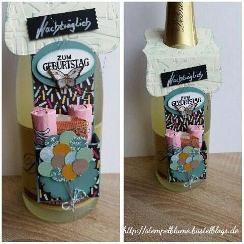 StampinUp!, Flaschen Anhänger, Auftragsarbeit zum Geburtstag, für einen Mann...