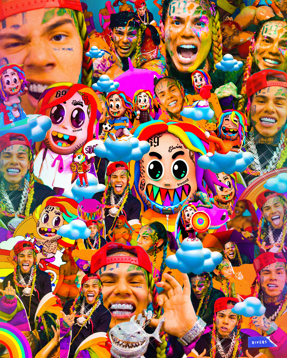 Tekashi Collage Art Baby Animal Drawings Rapper Art Badass Wallpaper Iphone