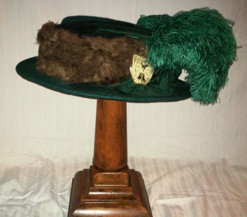 Vintage pre-Titanic Edwardian hat with metal butterfly trim, feathers, and box