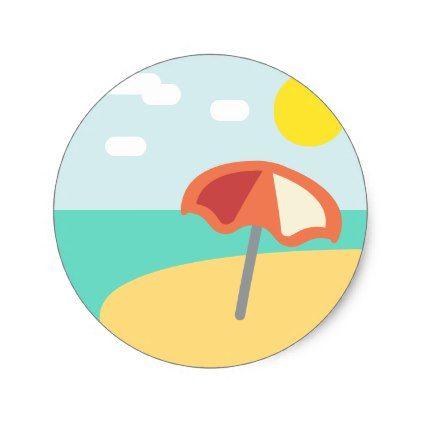 Beach Time Emoji Classic Round Sticker   Zazzle com   travel
