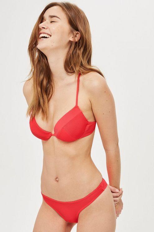 a0de3ab0ad34c Womens Ribbed High Leg Bikini Bottoms - Bright Red in 2019 ...