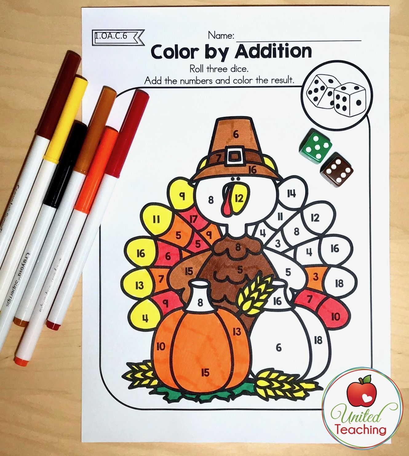 Thanksgiving 1st Grade No Prep Math Worksheets