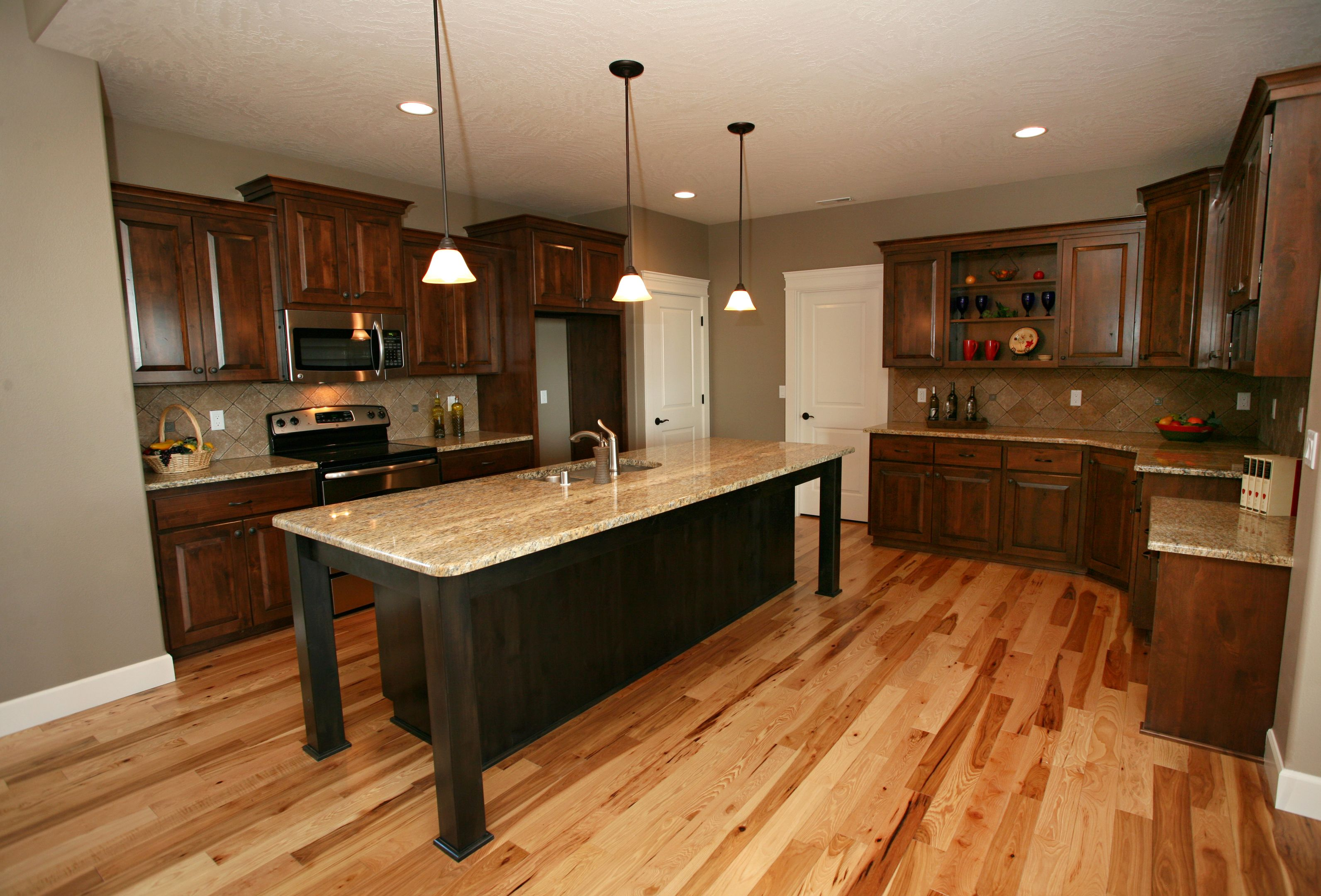 Image result for Clear alder cabinets with a painted wood ...