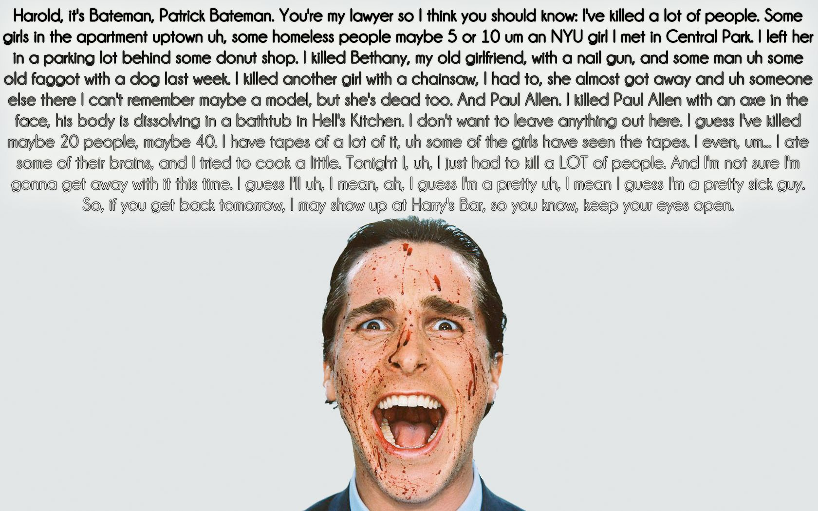 American Psycho Quotes Amusing American Psycho Book Quotes  Google Search  Sharing Food For . Design Inspiration
