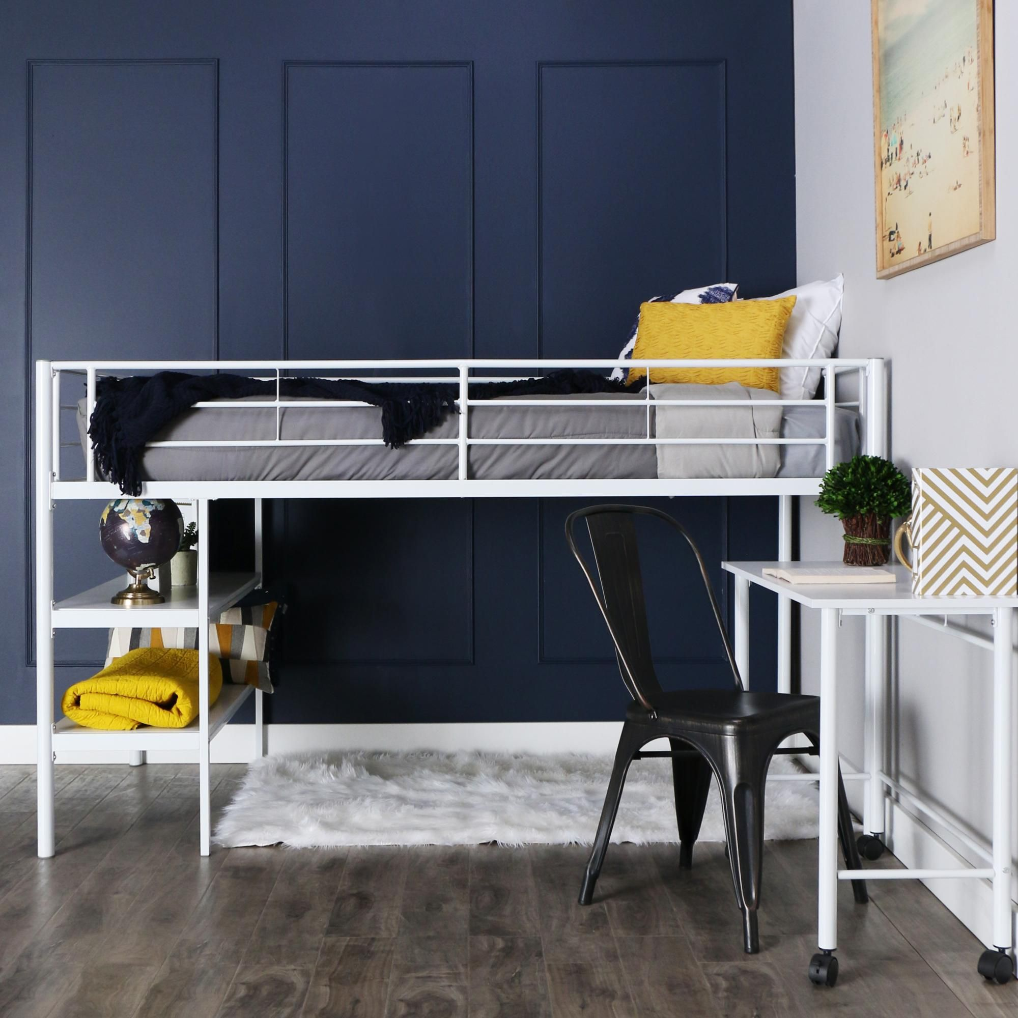 Amazon Com We Furniture Twin Low Loft Metal Bed White Home Amp Kitchen Loft Bed Childrens Bedroom Furniture Twin Loft Bed