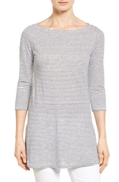 4a8f84d01bc Free shipping and returns on Eileen Fisher Stripe Organic Linen Knit Bateau  Neck Tunic (Regular & Petite) at Nordstrom.com. In a light and breathable  linen ...