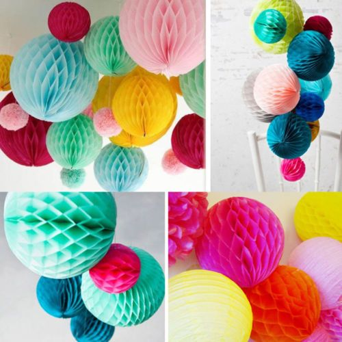 Honeycomb Balls Decoration 510Pcs Paper Lantern Honeycomb Balls Tissue Pom Pom Party Wedding