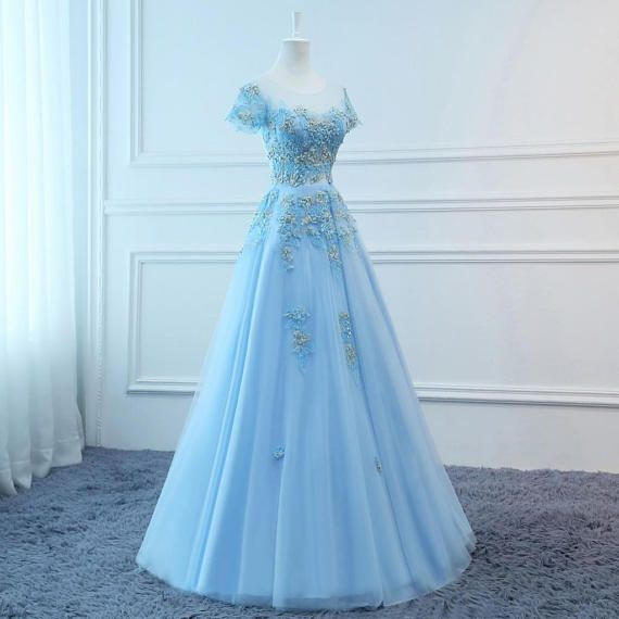 2019 Prom Dresses Long Blue Evening Dresses Foral Tulle Dress Women Formal Party Gown Fashionable Bride Gown Corset Back Quality Custom Made