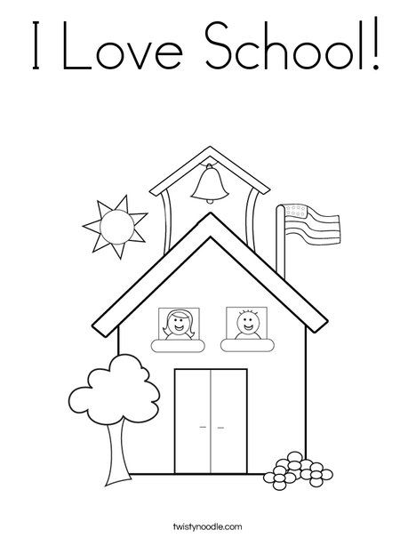 I Love School Coloring Page from TwistyNoodle.com