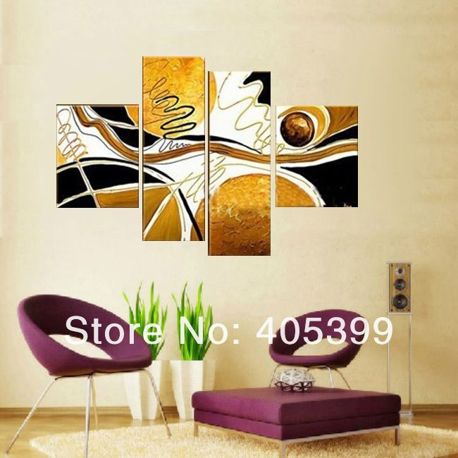 yellow and black canvas paintings | Modern Abstract Wall Art 4Pc ...