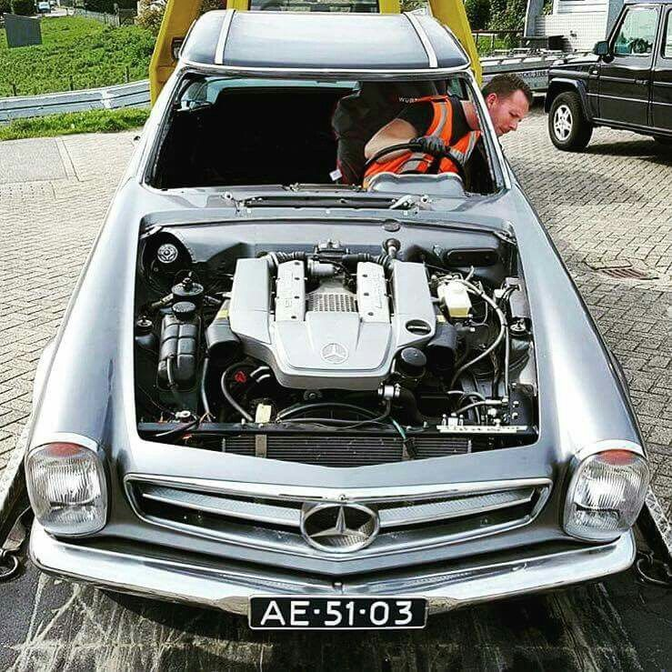 Check out this vintage Pagoda with a very modern Mercedes V8