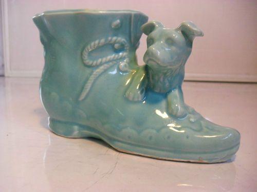 Hull USA Pottery Vase McCoy USA Drip Planter Boot Puppy Shawnee Pot Lab Dog Jug   eBay