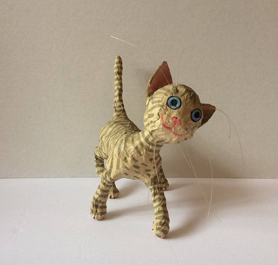 Incredibly cute vintage hand made paper mache tabby cat