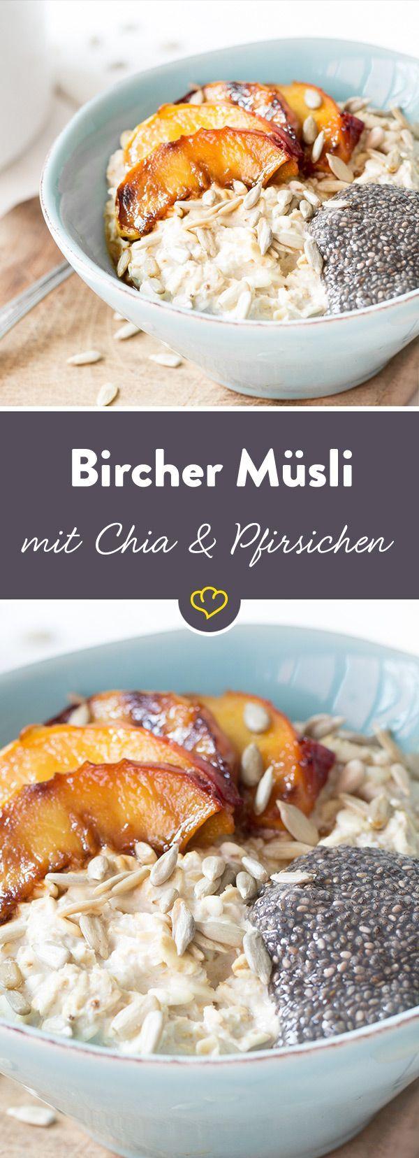 bircher m sli mit chia pudding und pfirsichen rezept delightful desserts pinterest. Black Bedroom Furniture Sets. Home Design Ideas