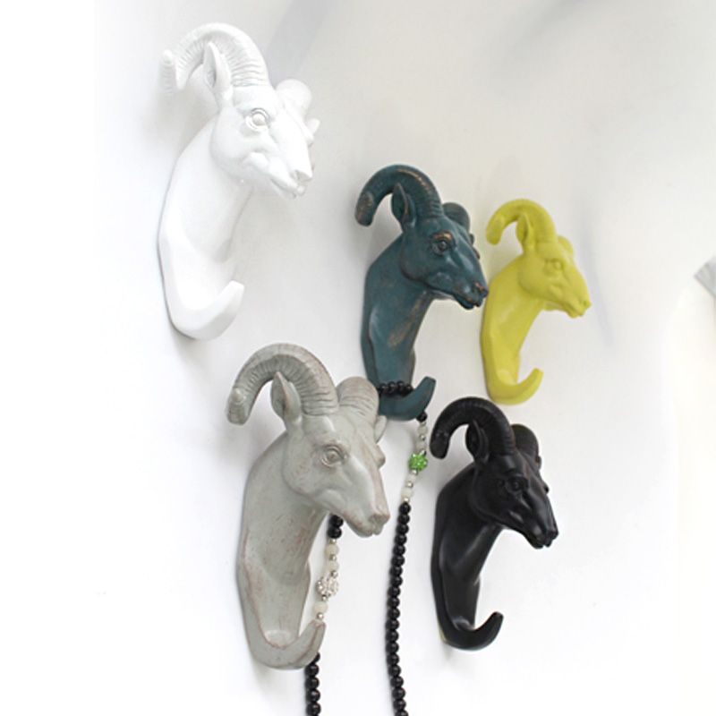 Merveilleux European Style Creative Goat Head Coat Hooks Home Decoration Resin Wall  Hook Hangers #Affiliate