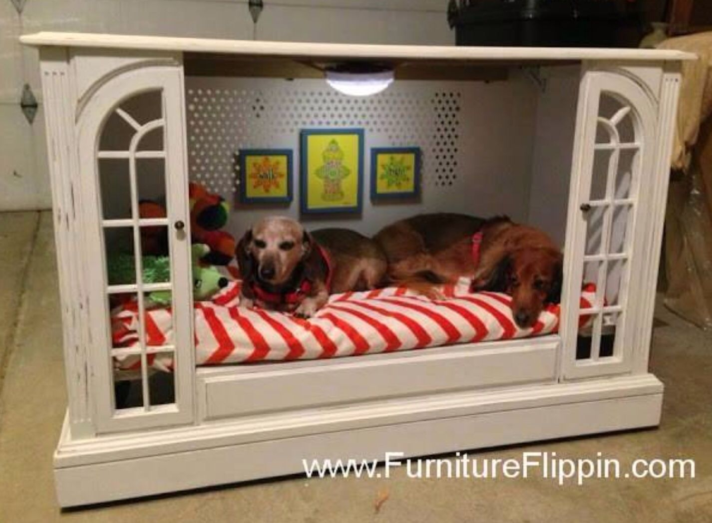 Cute Dog House Bed Made From Old Console Tv