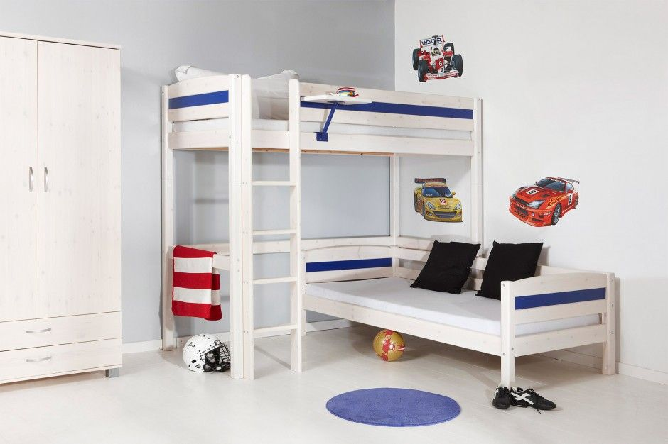 Kids Room Dashing L Shaped Bunk Bed Ideas Plus Black Pillows And Car Themed Wall Decal Feats Wooden Wardrobe Exper L Shaped Bunk Beds Kids Bunk Beds Bunk Beds