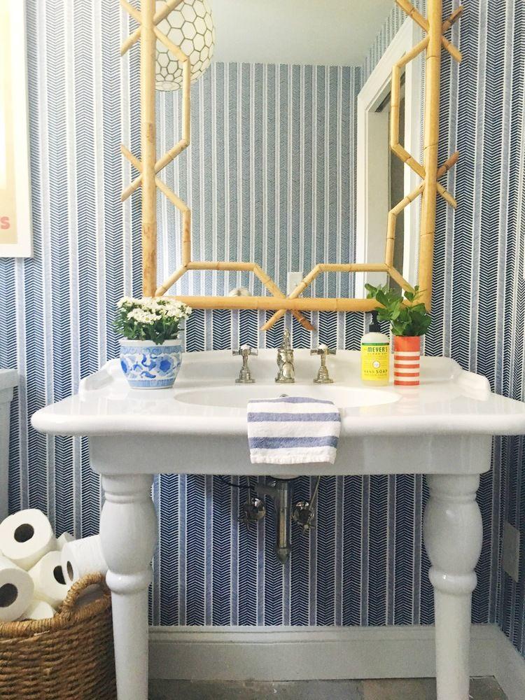 get the look p&p studio powder room Striped wallpaper