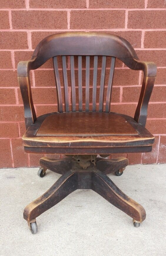 Antique 19201930s Swivel Office ChairBankers ChairCaptians