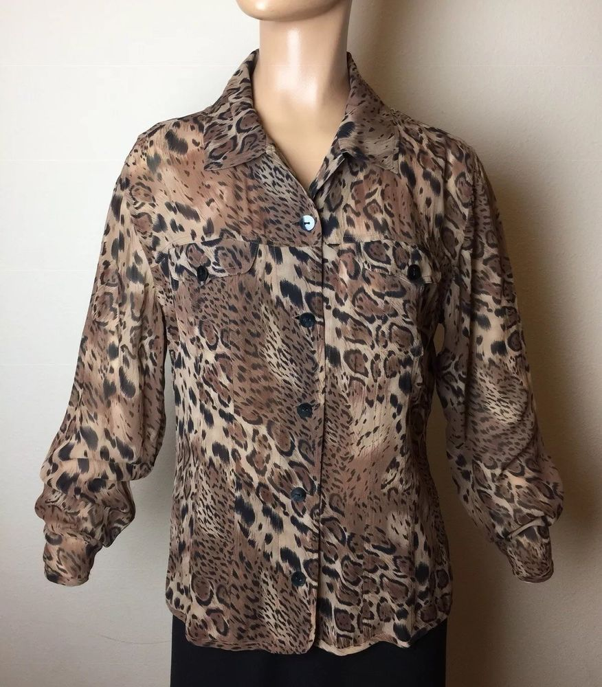 7eeeb3a2bf77f M 8 Chico s Size 1 LEOPARD 100% SILK BLOUSE 40