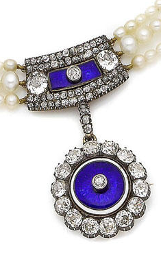 A pearl, enamel and diamond brooch/pendant necklace