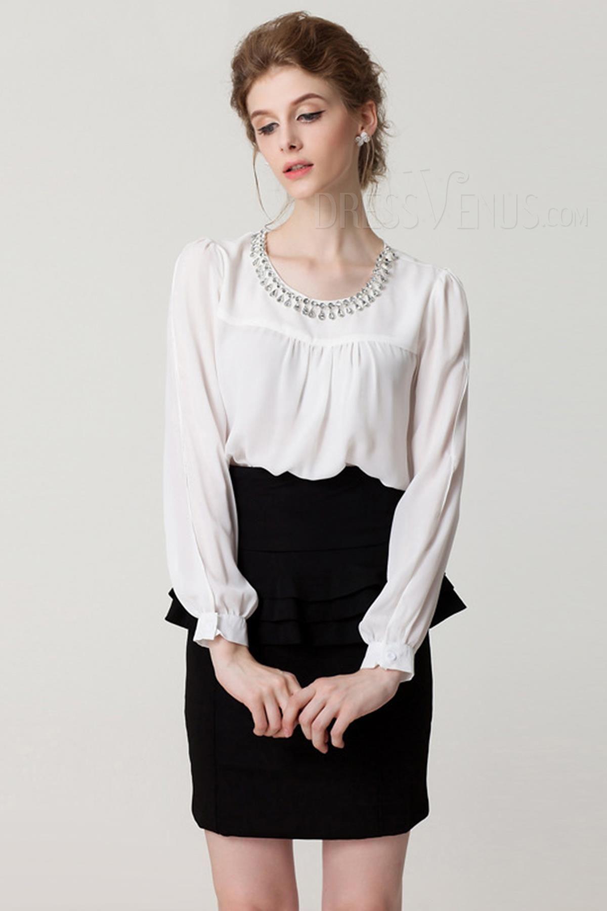 Allmatch rhinestone roundneck long sleeve chiffon blouse