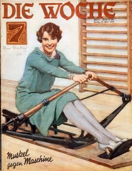 """A young woman using an ergometer.  Colour print after a watercolour painting, signed """"B.W."""". Front cover of the magazine: Die Woche, vol. 31, issue 8, Berlin (August Scherl) 23.02.1929."""