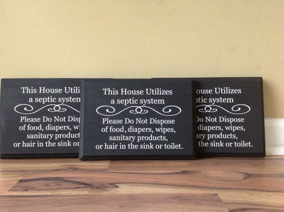 Septic System Rules Wooden Sign Set of 3 Do Not Flush Sign Bathroom ...