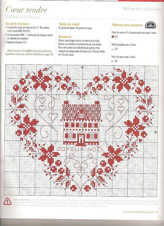 0 point de croix grille et couleurs de fils monochrome coeur maison sziv creation point de - Maison couture et fils ...