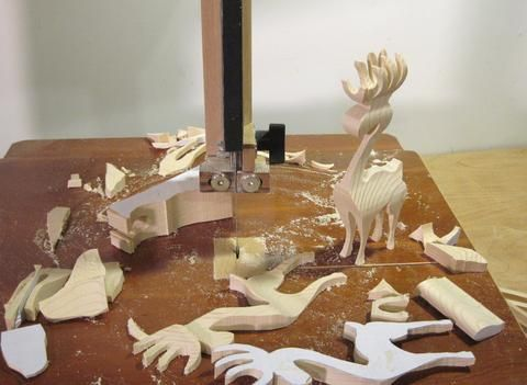 Cutting a 3-D reindeer on the bandsaw
