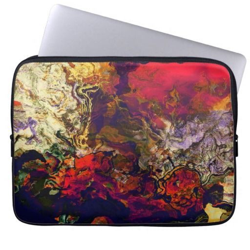 Abstract Evening Red, Cream & Midnight Swirl Laptop Computer Sleeve - design available on all electronics cases at #Zazzle. Or just ask! Designed by AustinLED on www.zazzle.com/austinLED*/.