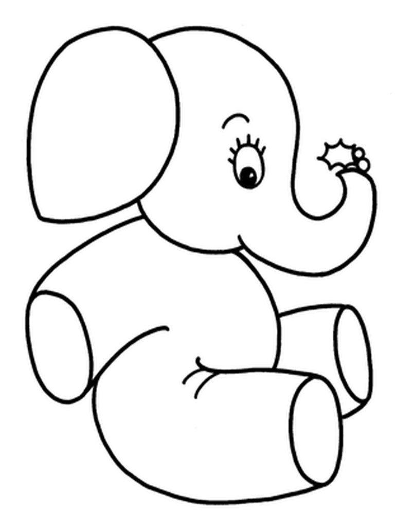 Elephants Coloring Pages Realistic Menggambar Gajah Gajah Lembar Mewarnai