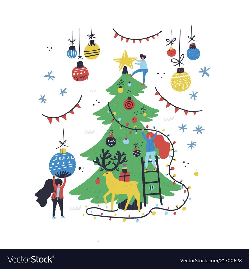 Christmas Tree Decoration Vector Image On Vectorstock Christmas Card Illustration Christmas Drawing Card Illustration