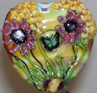 WSTGA~SPRING WILDFLOWERS~FLORAL BUTTERFLY handmade lampwork glass bead focal SRA