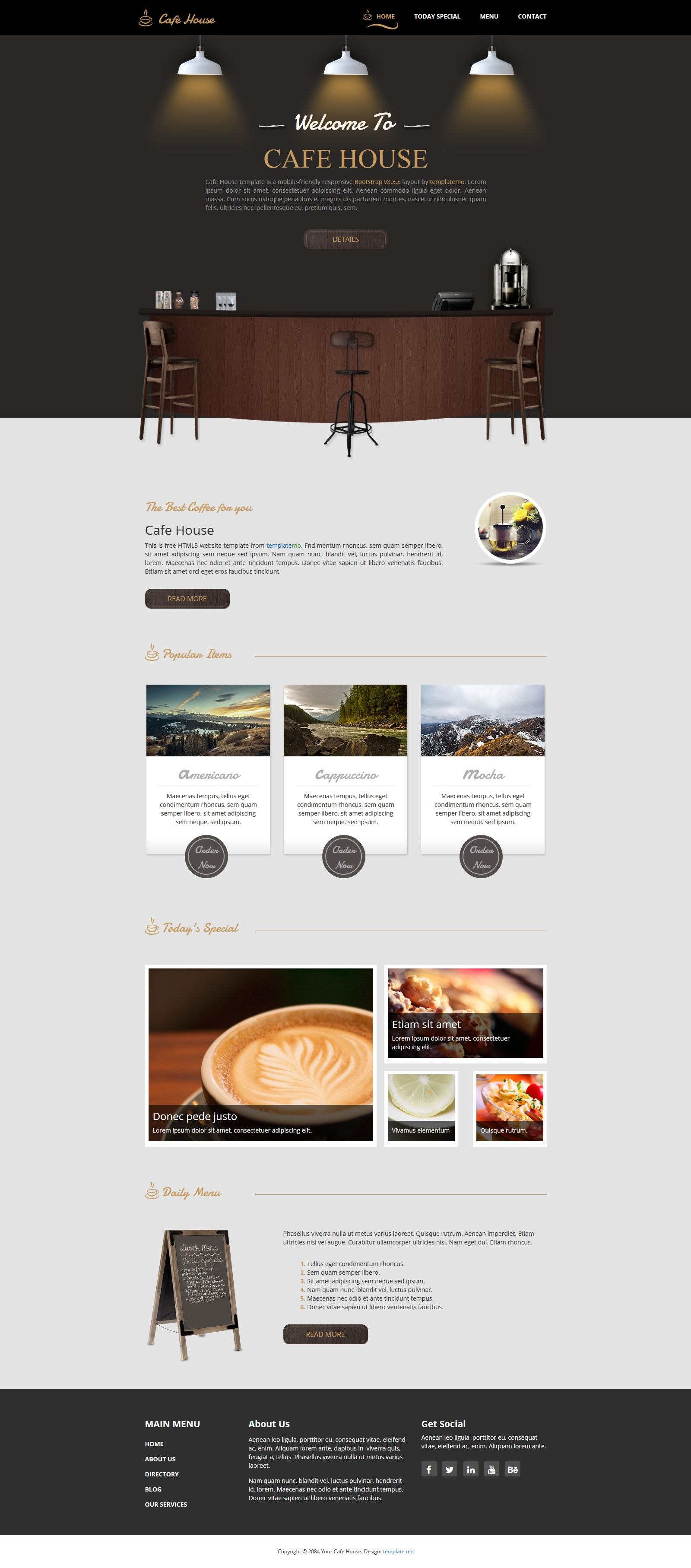 Cafe House Is A Mobile Friendly Bootstrap V3 3 5 Responsive Layout This Is A Small Coffee Shop Theme Design With Beautiful G Cafe House Small Coffee Shop Cafe