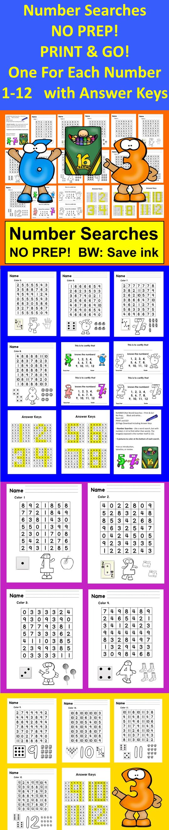 Number Searches No Prep BW: Save ink | Kids learning ...