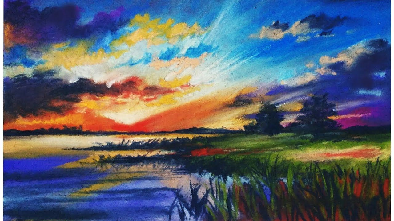 Landscape Drawing For Beginners With Soft Pastels Scenery Drawing Landscape Painting Youtube Pastel Landscape Easy Landscape Paintings Landscape Drawings