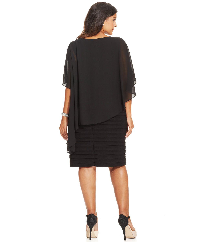 477bb85e79a Betsy   Adam Plus Size Chiffon Capelet Sheath Dress