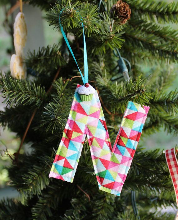 Personalized Christmas Ornament Initial Ornament Alphabet Ornament Xmas Tree Decoration Fabric Christmas Ornaments Xmas Tree Decorations Initials Ornament
