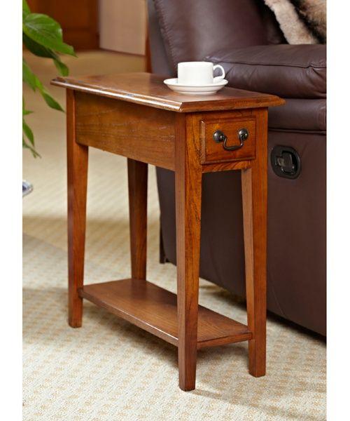 Hardwood 10 Inch Chairside End Table In Medium Oak   End Tables At Hayneedle